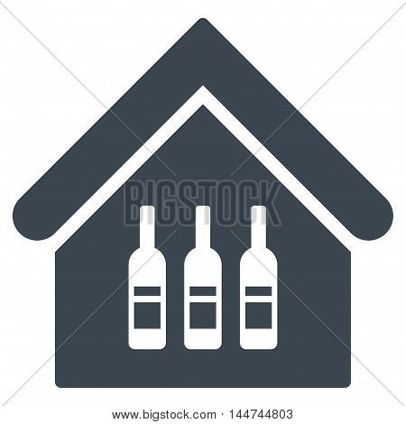 Wine Bar icon. Glyph style is flat iconic symbol, smooth blue color, white background.