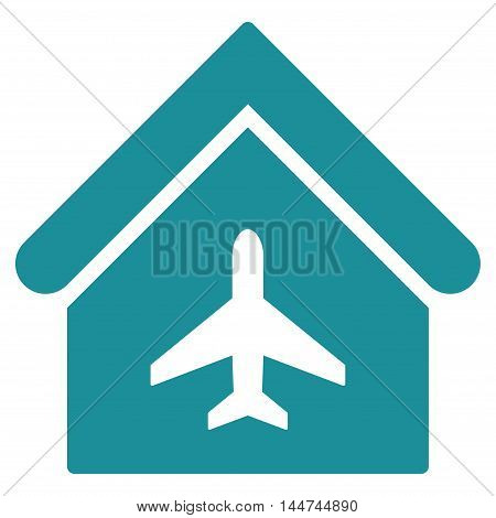 Aircraft Hangar icon. Glyph style is flat iconic symbol, soft blue color, white background.