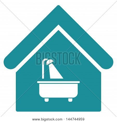 Bathroom icon. Glyph style is flat iconic symbol, soft blue color, white background.
