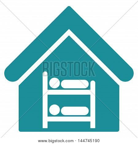 Hostel icon. Glyph style is flat iconic symbol, soft blue color, white background.