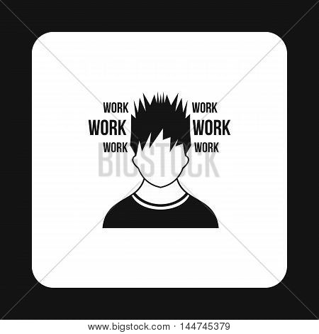 Man and work words i icon in simple style isolated on white background