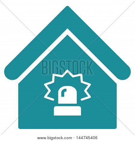 Realty Alarm icon. Glyph style is flat iconic symbol, soft blue color, white background.