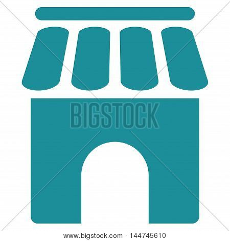 Shop Building icon. Glyph style is flat iconic symbol, soft blue color, white background.