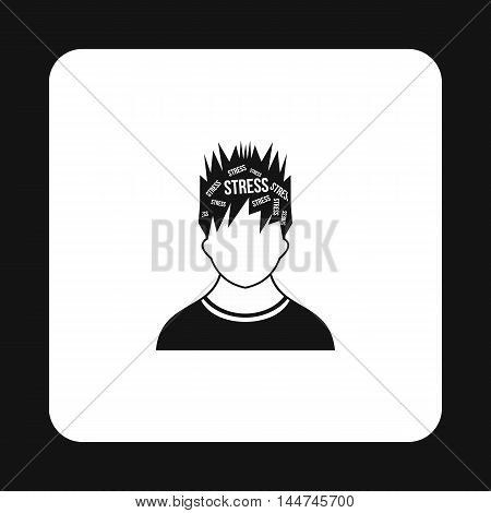 Word stress in head of man icon in simple style isolated on white background