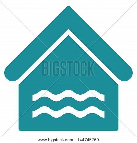 Water Pool icon. Glyph style is flat iconic symbol, soft blue color, white background.