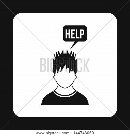 Man needs help icon in simple style isolated on white background