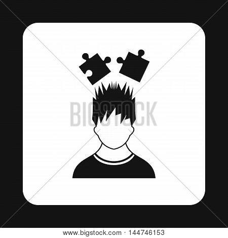 Man with puzzles over head icon in simple style isolated on white background