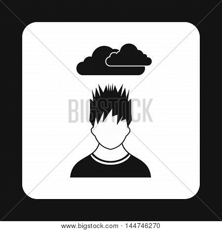 Depressed man with clouds over his head icon in simple style isolated on white background