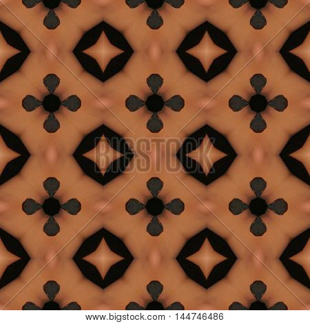 Brown ornamental seamless pattern and design image