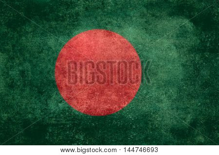 National flag of Bangladesh with distressed vintage textures