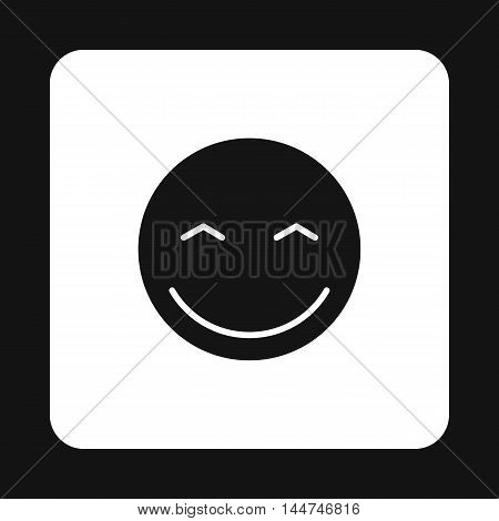 Smiling emoticon with smiling eyes icon in simple style isolated on white background