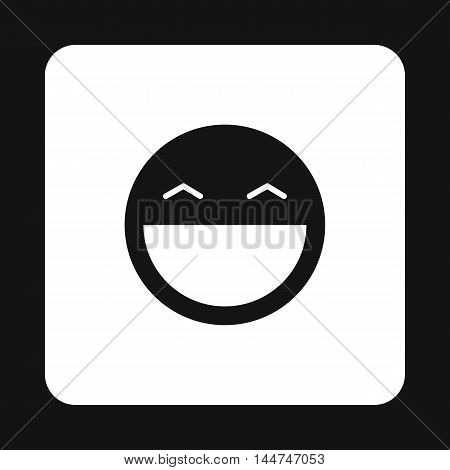 Happy smiley emoticon icon in simple style isolated on white background