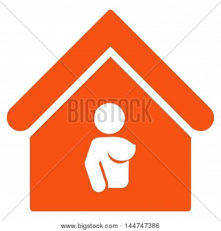 Bordel icon. Glyph style is flat iconic symbol, orange color, white background.