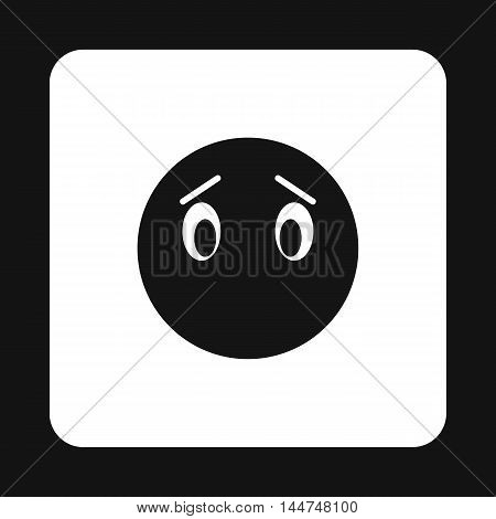 Sad emoticon without mouth icon in simple style isolated on white background