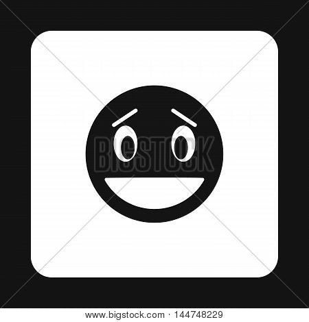 Surprised emoticon icon in simple style isolated on white background