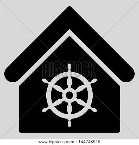 Steering Wheel House icon. Vector style is flat iconic symbol, black color, light gray background.