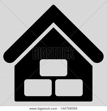 Warehouse icon. Vector style is flat iconic symbol, black color, light gray background.