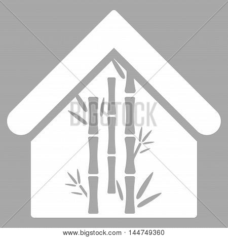 Bamboo House icon. Vector style is flat iconic symbol, white color, silver background.