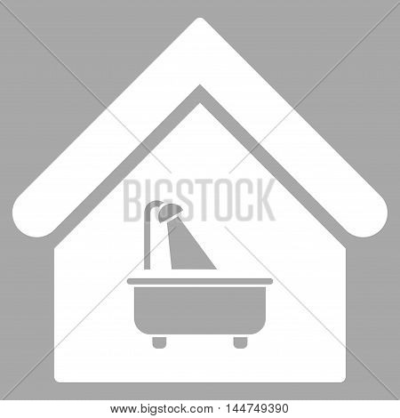 Bathroom icon. Vector style is flat iconic symbol, white color, silver background.