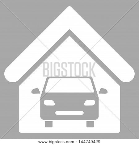 Car Garage icon. Vector style is flat iconic symbol, white color, silver background.