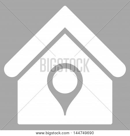 House Location icon. Vector style is flat iconic symbol, white color, silver background.