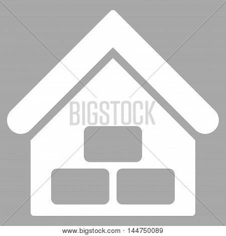 Warehouse icon. Vector style is flat iconic symbol, white color, silver background.