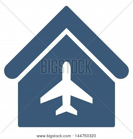 Aircraft Hangar icon. Vector style is flat iconic symbol, blue color, white background.
