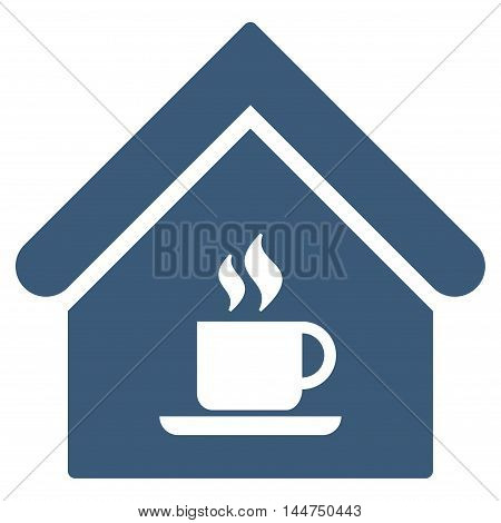 Cafe House icon. Vector style is flat iconic symbol, blue color, white background.