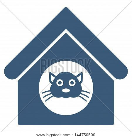 Cat House icon. Vector style is flat iconic symbol, blue color, white background.
