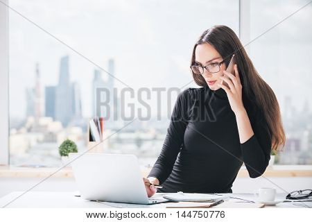 Charming European Lady In Office