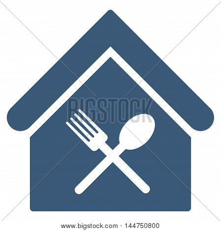 Food Court icon. Vector style is flat iconic symbol, blue color, white background.