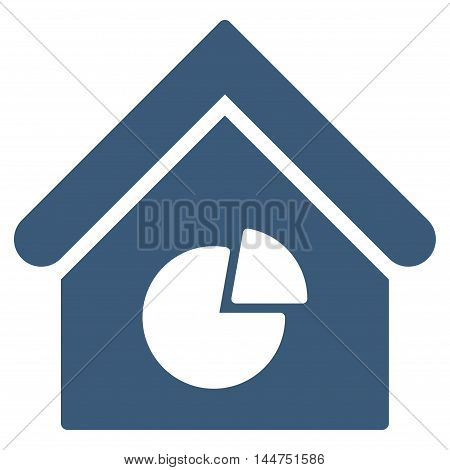Realty Pie Chart icon. Vector style is flat iconic symbol, blue color, white background.