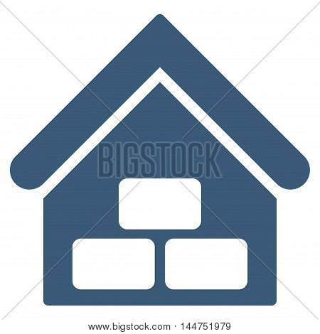 Warehouse icon. Vector style is flat iconic symbol, blue color, white background.