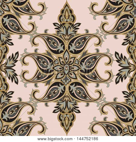 Floral Pattern Flourish Tiled Oriental Ethnic Background. Arabic Ornament With Fantastic Flowers And