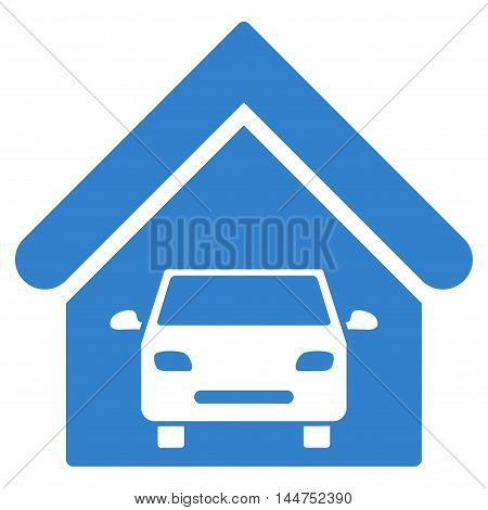 Car Garage icon. Vector style is flat iconic symbol, cobalt color, white background.