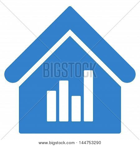 Realty Bar Chart icon. Vector style is flat iconic symbol, cobalt color, white background.