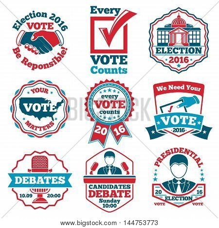 Vector set of Vote labels and badges for elections, debates etc.