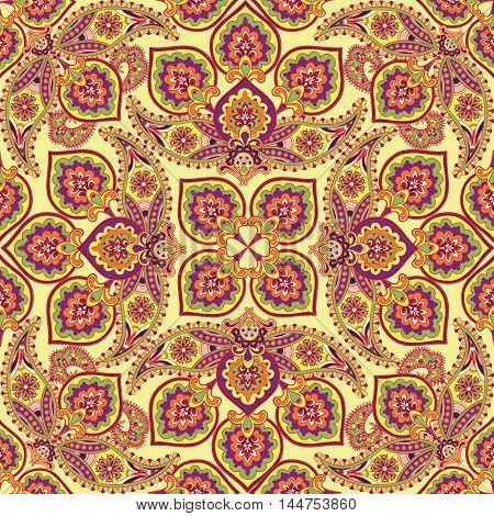 Floral Pattern Flourish Tiled Oriental Ethnic Background. Abstract Geometric Ornament With Fantastic