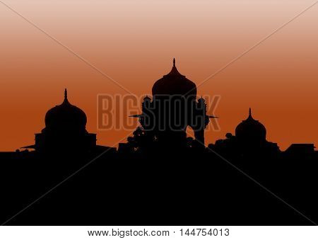 Sunset and famous palace in Allahabad, Uttar Pradesh, India taht was bulit by muslim Mughal dynasty