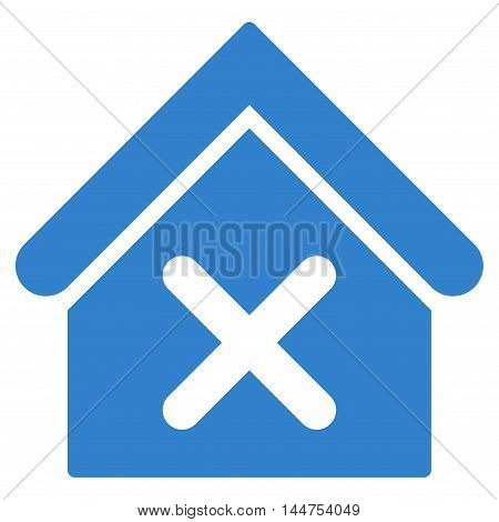 Wrong House icon. Vector style is flat iconic symbol, cobalt color, white background.