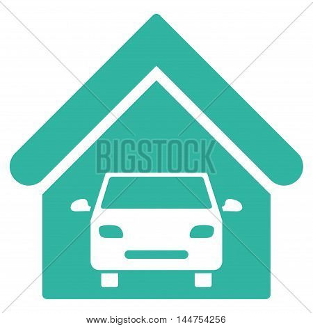 Car Garage icon. Vector style is flat iconic symbol, cyan color, white background.