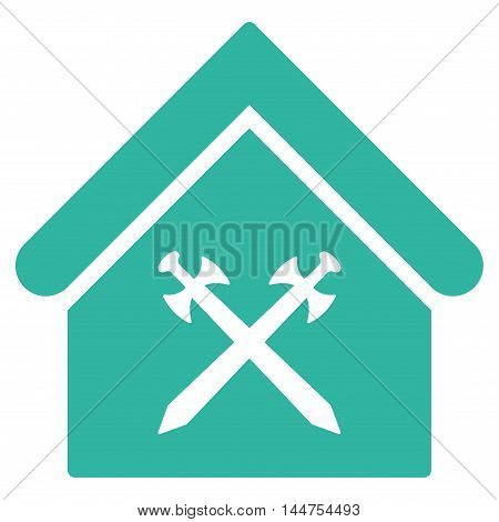 Guard Office icon. Vector style is flat iconic symbol, cyan color, white background.