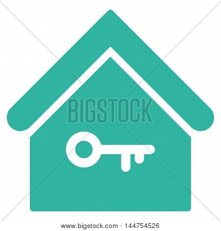 Home Key icon. Vector style is flat iconic symbol, cyan color, white background.