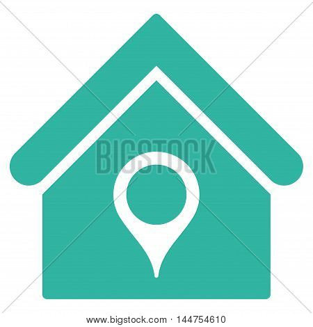 House Location icon. Vector style is flat iconic symbol, cyan color, white background.