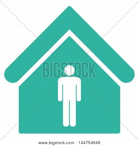 Man Toilet Building icon. Vector style is flat iconic symbol, cyan color, white background.