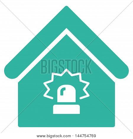 Realty Alarm icon. Vector style is flat iconic symbol, cyan color, white background.