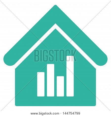 Realty Bar Chart icon. Vector style is flat iconic symbol, cyan color, white background.