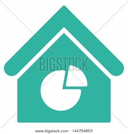 Realty Pie Chart icon. Vector style is flat iconic symbol, cyan color, white background.