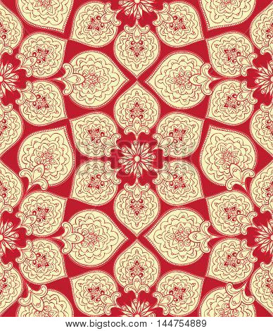 Flourish Tiled Pattern. Abstract Floral Geometric Seamless Oriental Background. Indian Fabric Patter