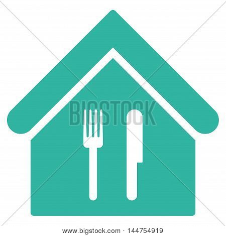 Restaurant icon. Vector style is flat iconic symbol, cyan color, white background.